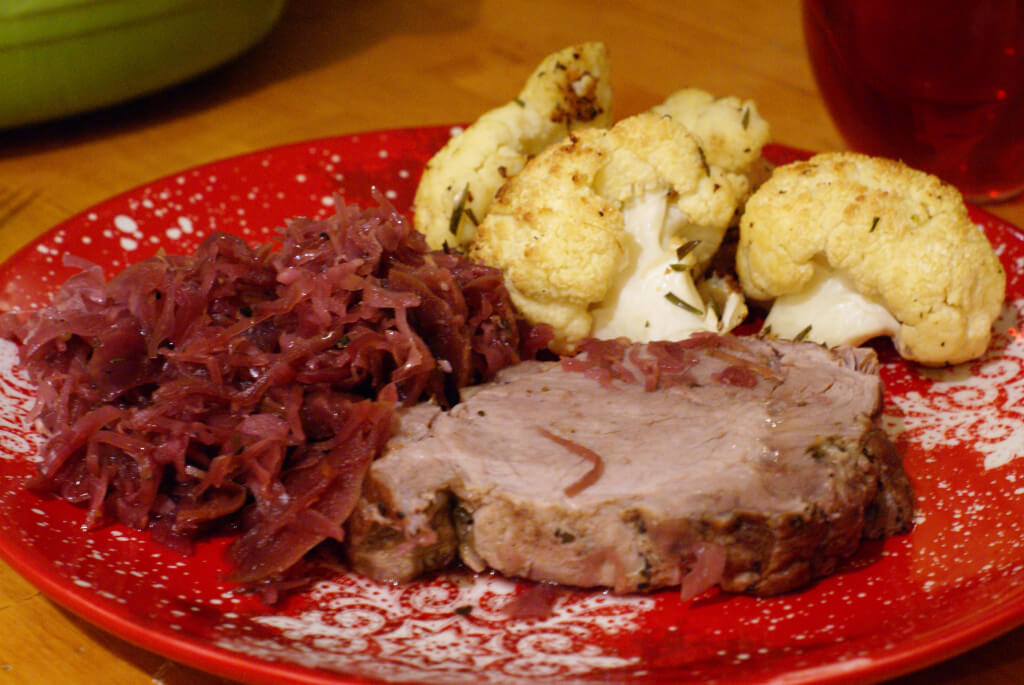 Slow-cooker apple-pork roast with cabbage is a satisfying, yet healthy, 1-pot comfort food. The leftovers can become a week of quick and easy meals.