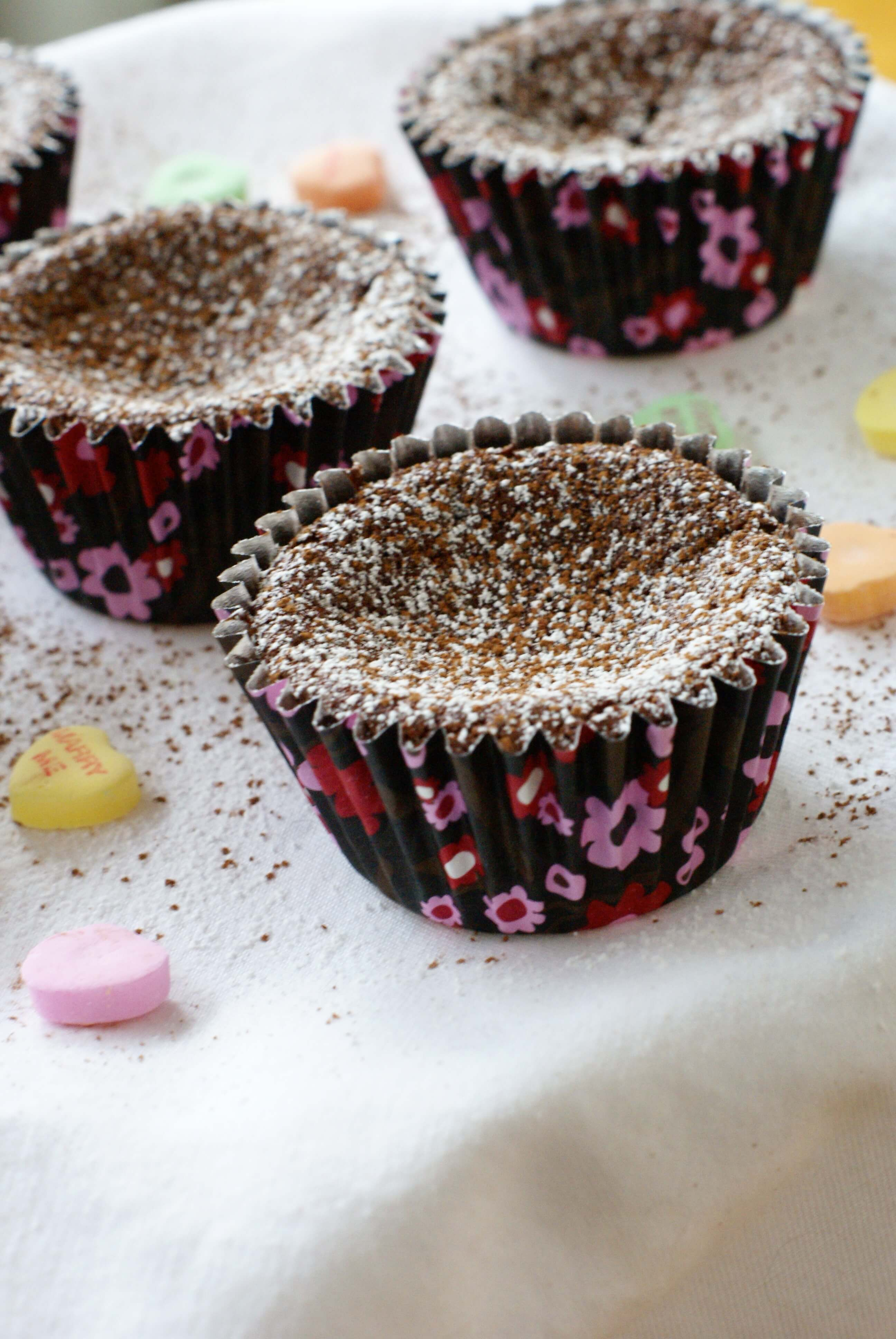 Chocolate Cupcakes Dusted with Powdered Sugar