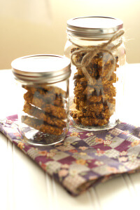 Oatmeal cookies stacked in mason jars