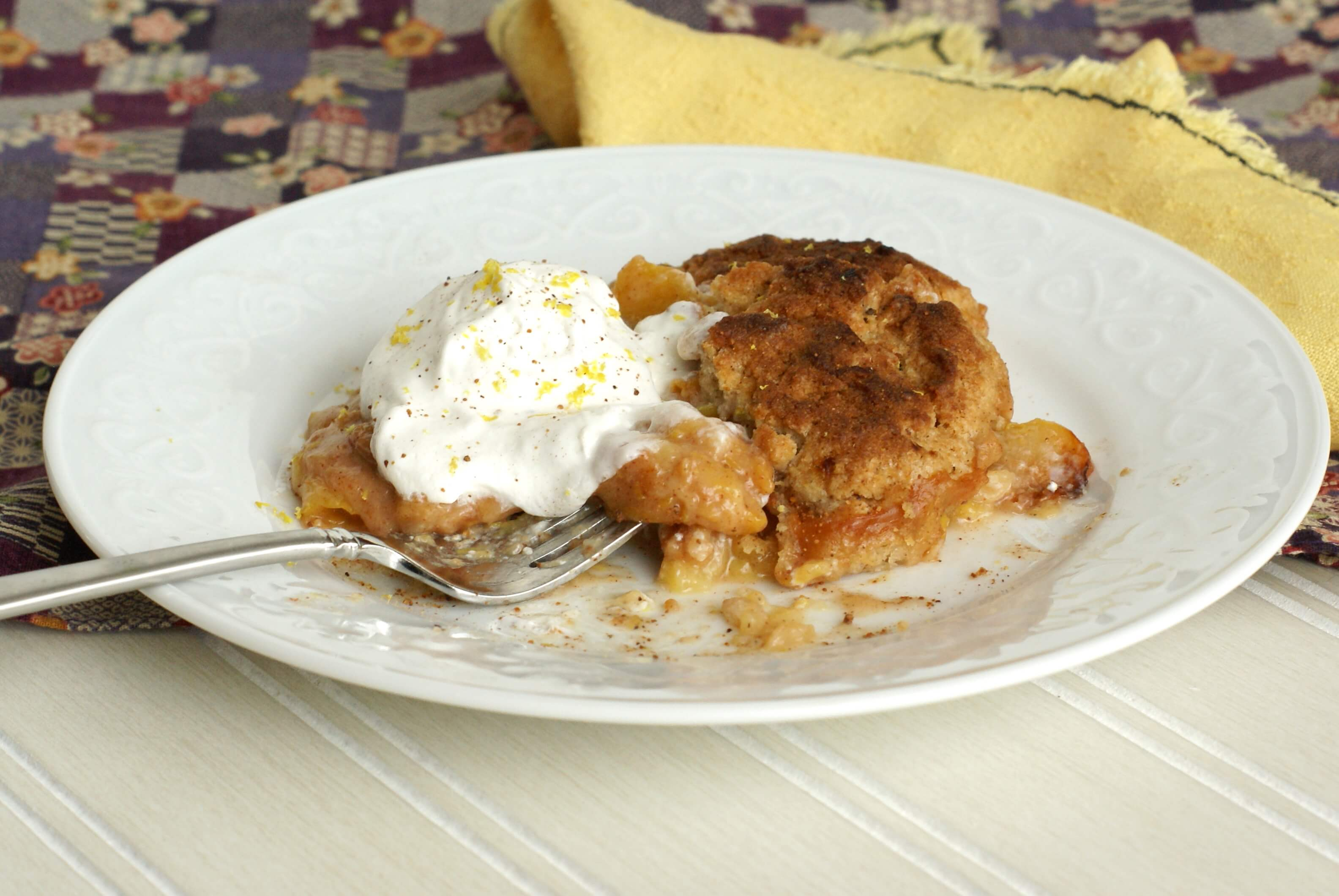 Plated Fruit Cobbler with Cool Whip