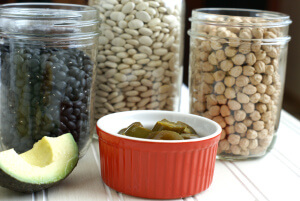 Three Jars of Beans with avocado and jalopenos