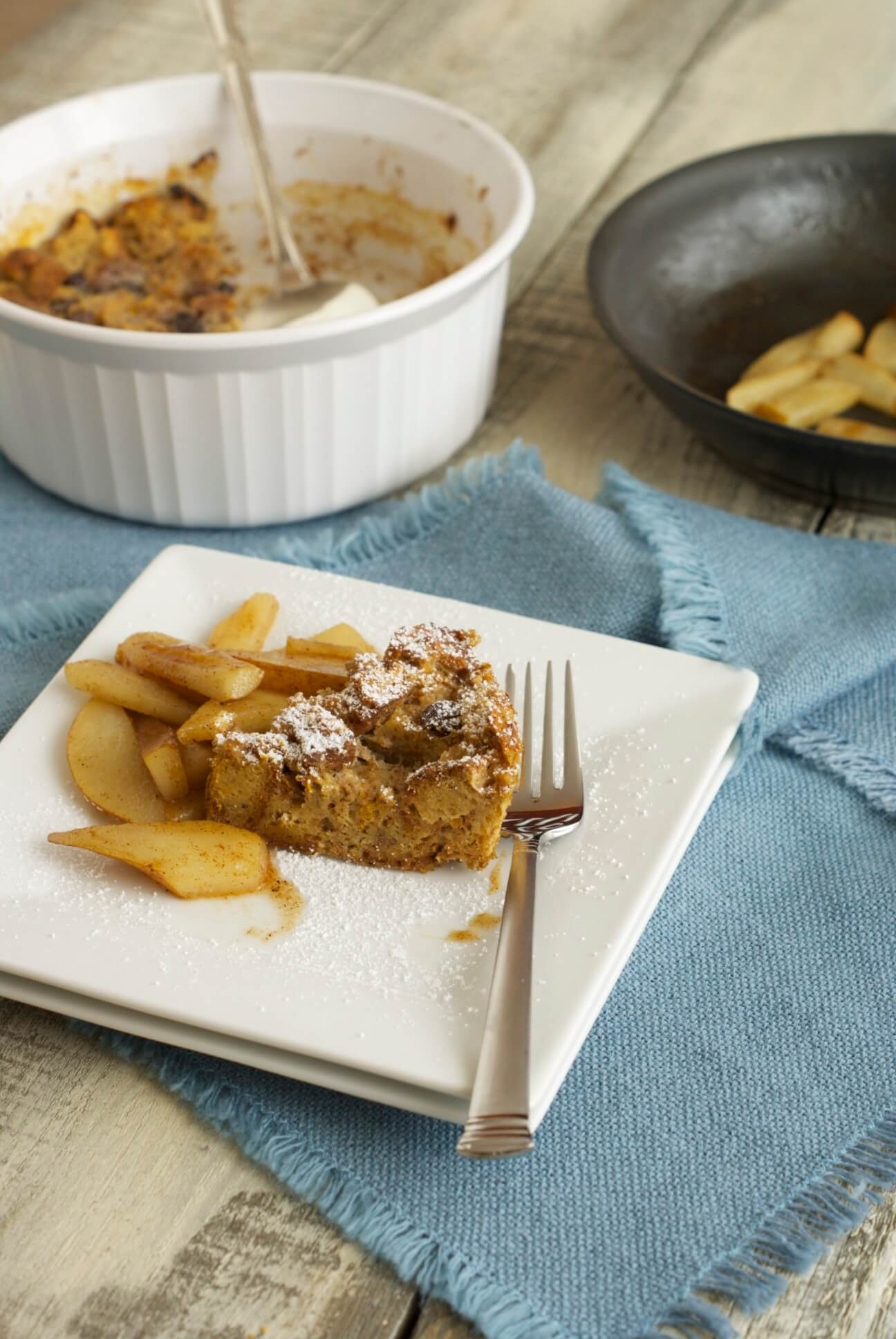 Baking Dish of Bread Pudding, Plate of Bread Pudding, Skillet with Sauteed Pears