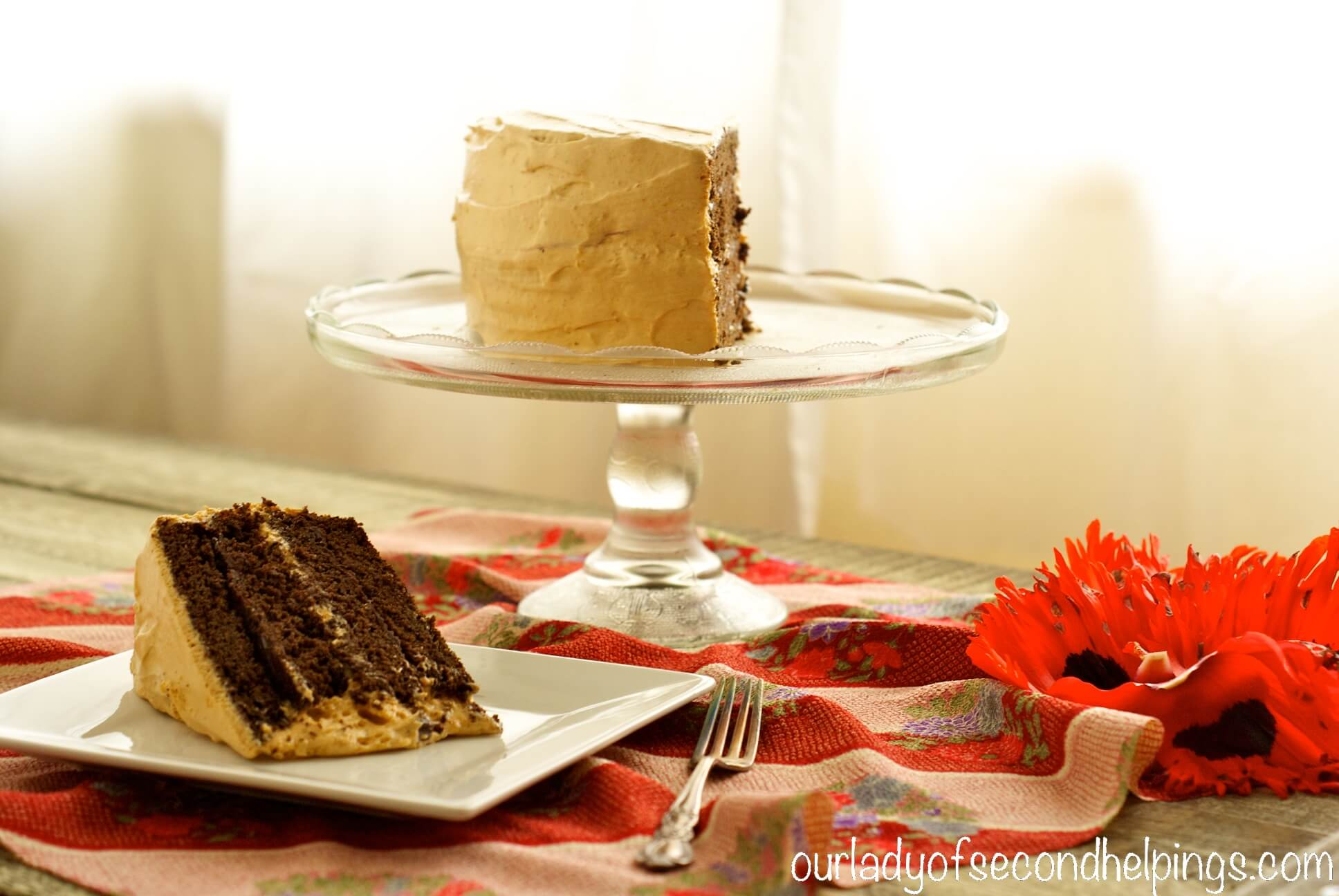 Low calorie chocolate cake with light frosting