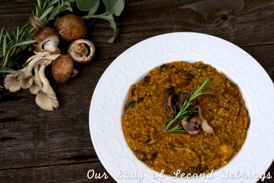 Ingredients and bowl of mushroom oat risotto