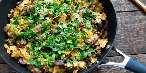 1-Skillet Hamburger Stroganoff with Mushrooms