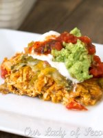 Chicken & sweet potato layered enchiladas - cut calories and still enjoy the enchiladas you love. Use leftover chicken to make this recipe quick & easy!