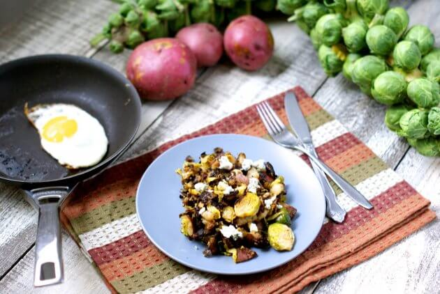 Gorgonzola-Brussels Sprout Hash; turn simple fall vegetables into a gourmet comfort food perfect for any meal of the day. Add an egg for a healthy meal.