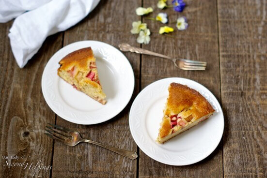 Rhubarb Cake - A Spring Time Favorite for Mother's Day | Our Lady of Second Helpings #brunch #dessert #rhubarb #glutenfree #cake #buttermilk