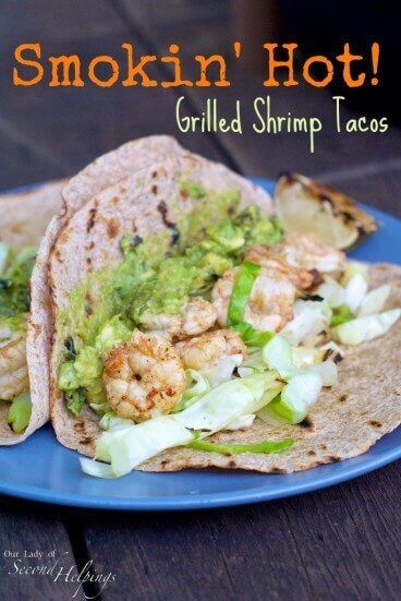 Zesty shrimp tacos filled with spicy grilled shrimp paired with a grilled cabbage slaw, and grilled avocado-tomatillo guacamole.