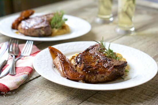 Cider Glazed Pasture Raised Pork Chops with Pears | Our Lady of Second Helpings