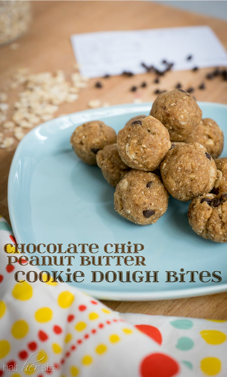 Peanut Butter Chocolate Chip Cookie Dough Bites - a healthy snack that tastes like a soft cookie made with dates, applesauce, & oats