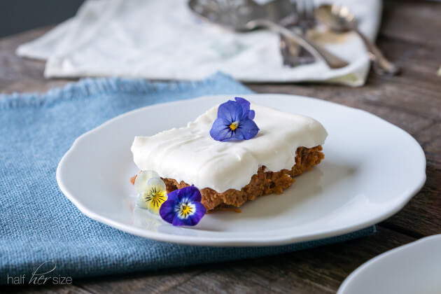 Super easy 3 ingredient carrot cake using a short-cut on a classic carrot cake recipe. Comes out super moist, so sweet, and right on the verge of ooey-gooey. Perfect for anyone looking for healthier dessert recipes.