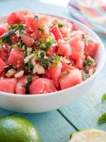 Watermelon Salad with mint, feta, lime, jalapenos