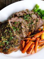 roasted boneless leg of lamb with carrots
