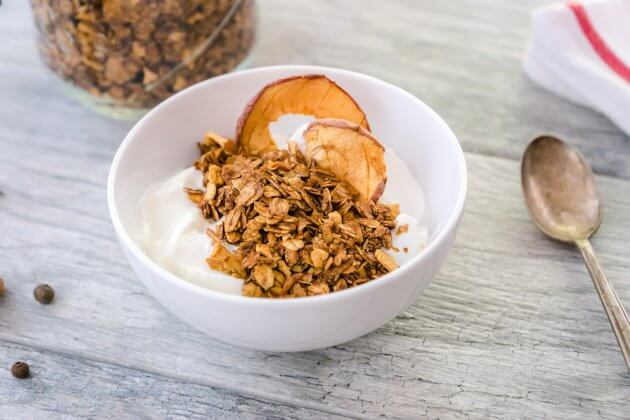 Easy Apple Cinnamon Homemade Granola is a quick and easy granola recipe. Pair with yogurt for a quick deliciously satisfying weight loss friendly breakfast.