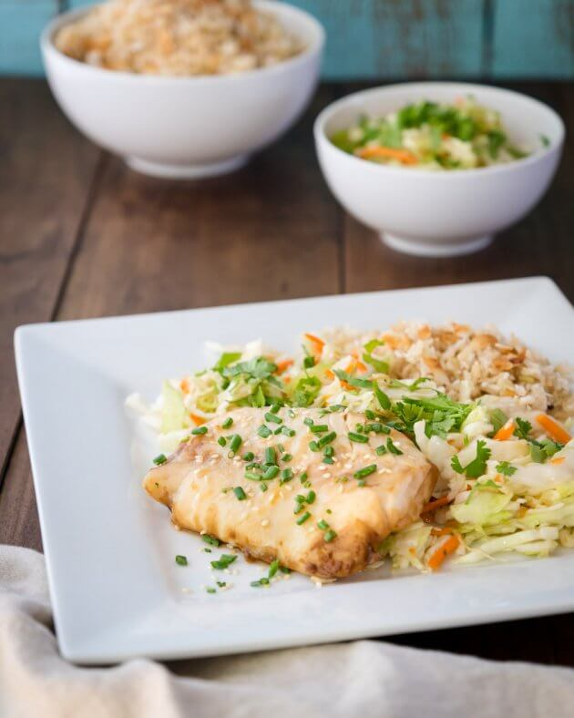 Ginger-soy steamed cod, an easy fish recipe for a quick, family dinner. Cooking with simple Asian inspired ingredients infuses the fish with dynamic flavor.