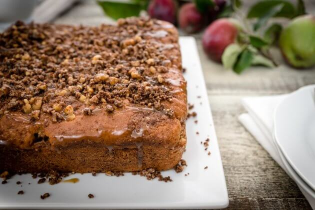 Caramel apple coffee cake enhances a classic recipe with a tempting layer of brown sugar and cinnamon apples. Sure to become a favorite family recipe.