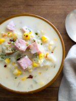Easy ham-corn chowder is healthy comfort food for busy days. Enjoy the final days of summer and get excited about fall, with this quick soup recipe.